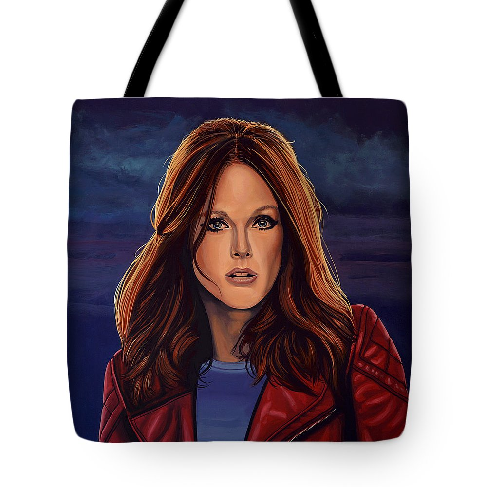Julianne Moore Tote Bag featuring the painting Julianne Moore by Paul Meijering