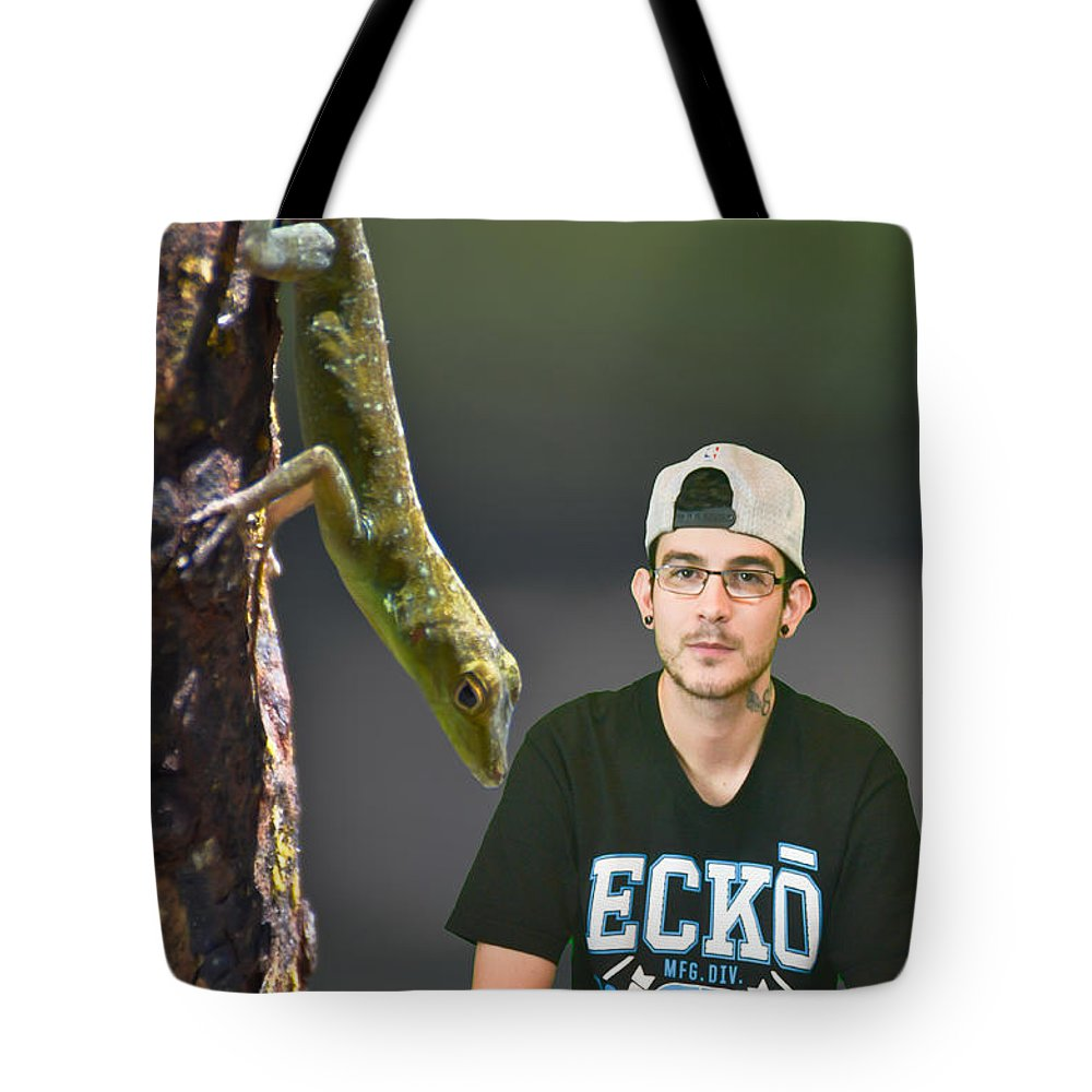 Close Up Tote Bag featuring the photograph Julien In The Jungle by PatriZio M Busnel