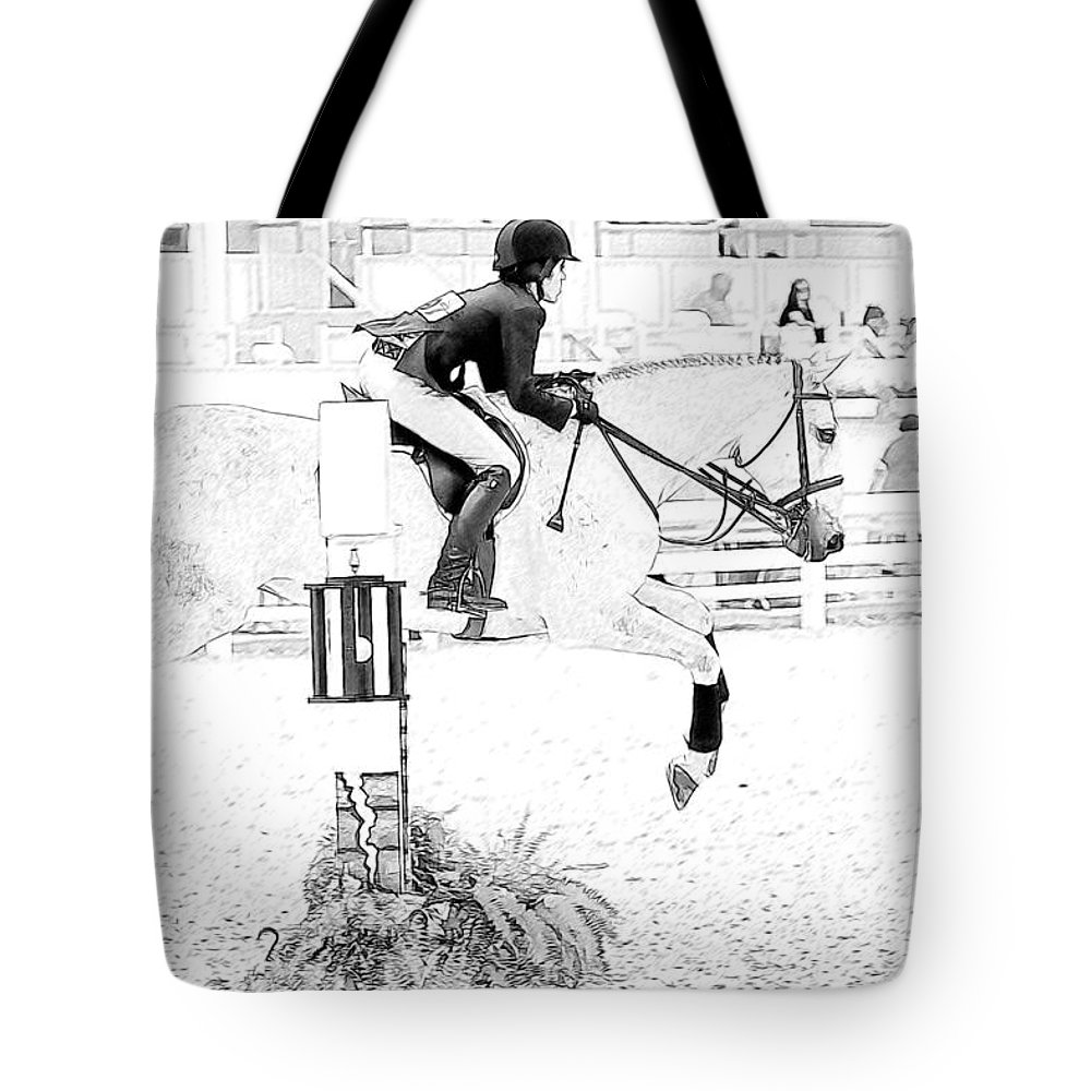 Horse Tote Bag featuring the photograph Jumper Lines by Alice Gipson