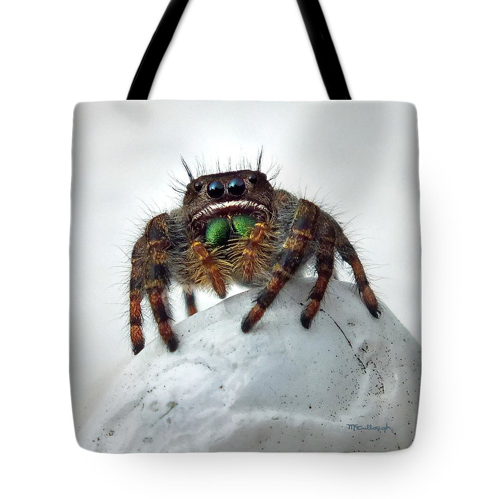 Duane Mccullough Tote Bag featuring the photograph Jumper Spider 2 by Duane McCullough