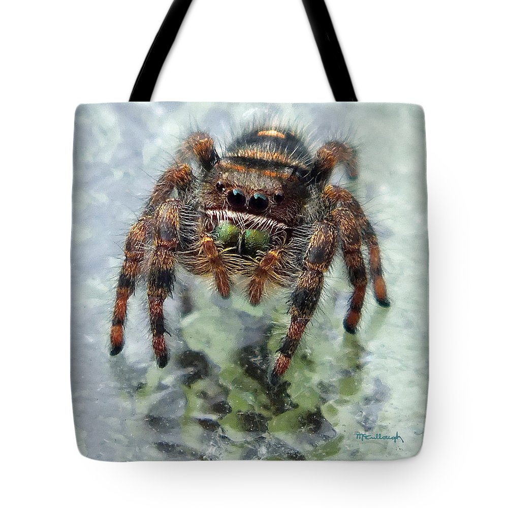 Duane Mccullough Tote Bag featuring the photograph Jumper Spider 4 by Duane McCullough