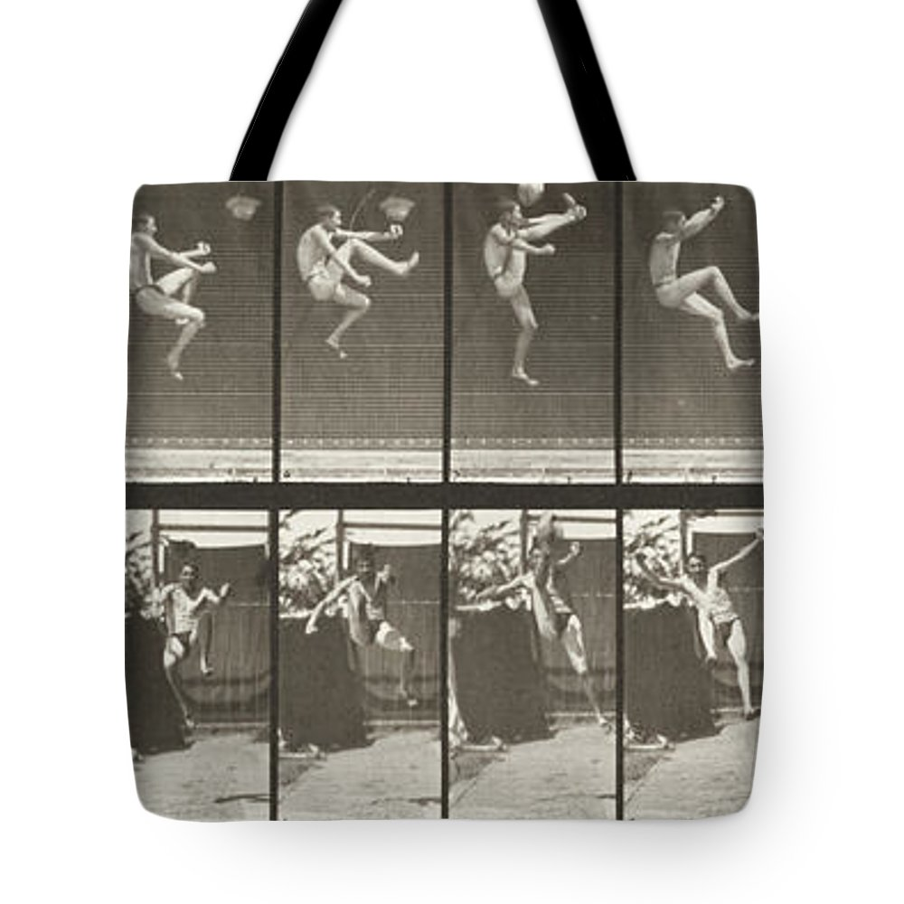 Jumping Tote Bag featuring the photograph Jumping And Kicking by Celestial Images