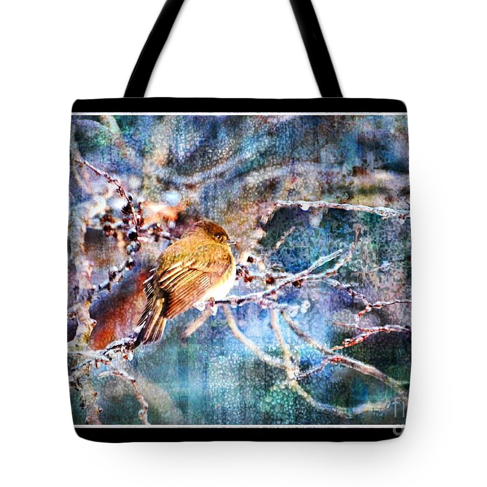 Dark-eyed Junco Tote Bag featuring the photograph Junco On Icy Branch - Digital Paint II by Debbie Portwood