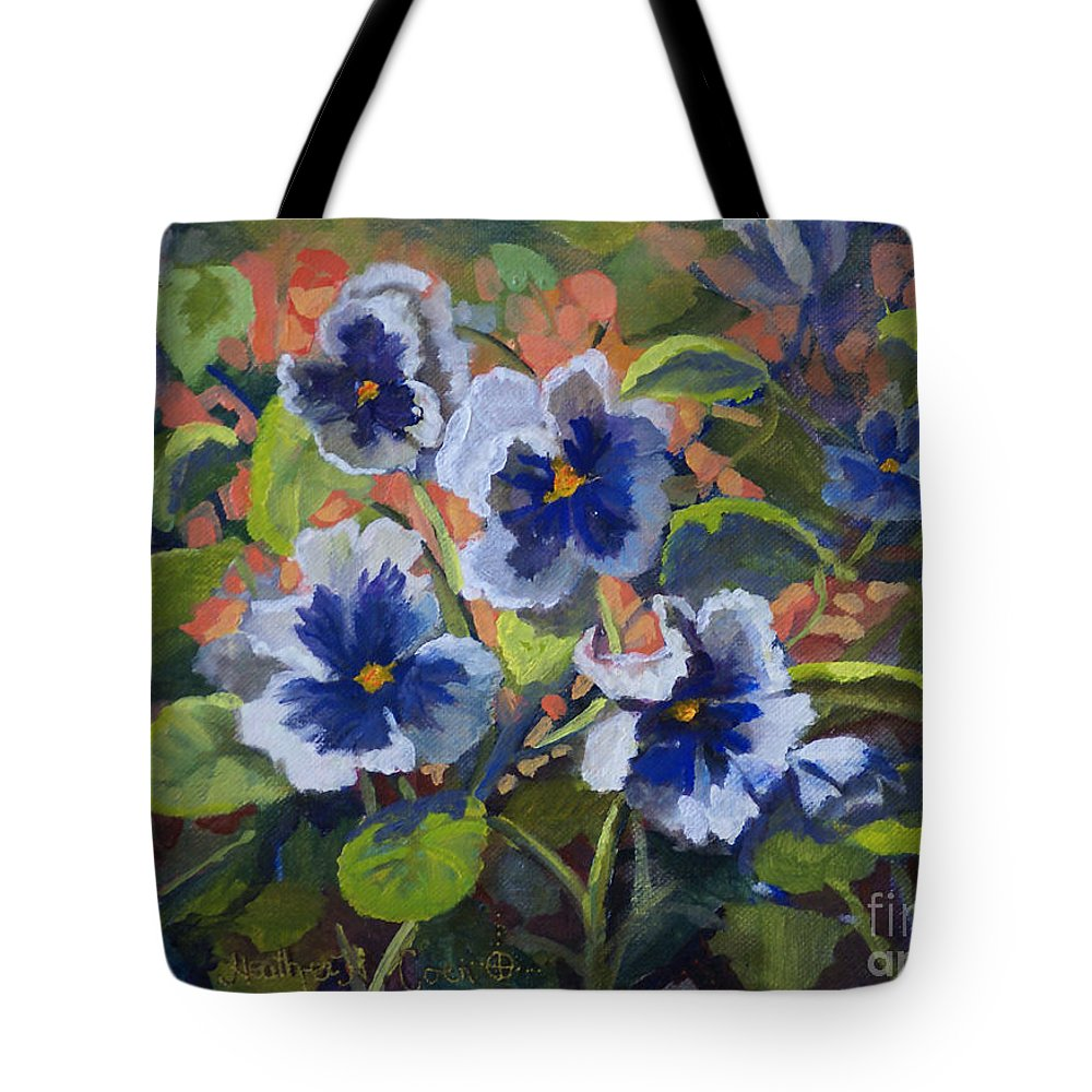 Pansies Tote Bag featuring the painting June In The Garden by Heather Coen