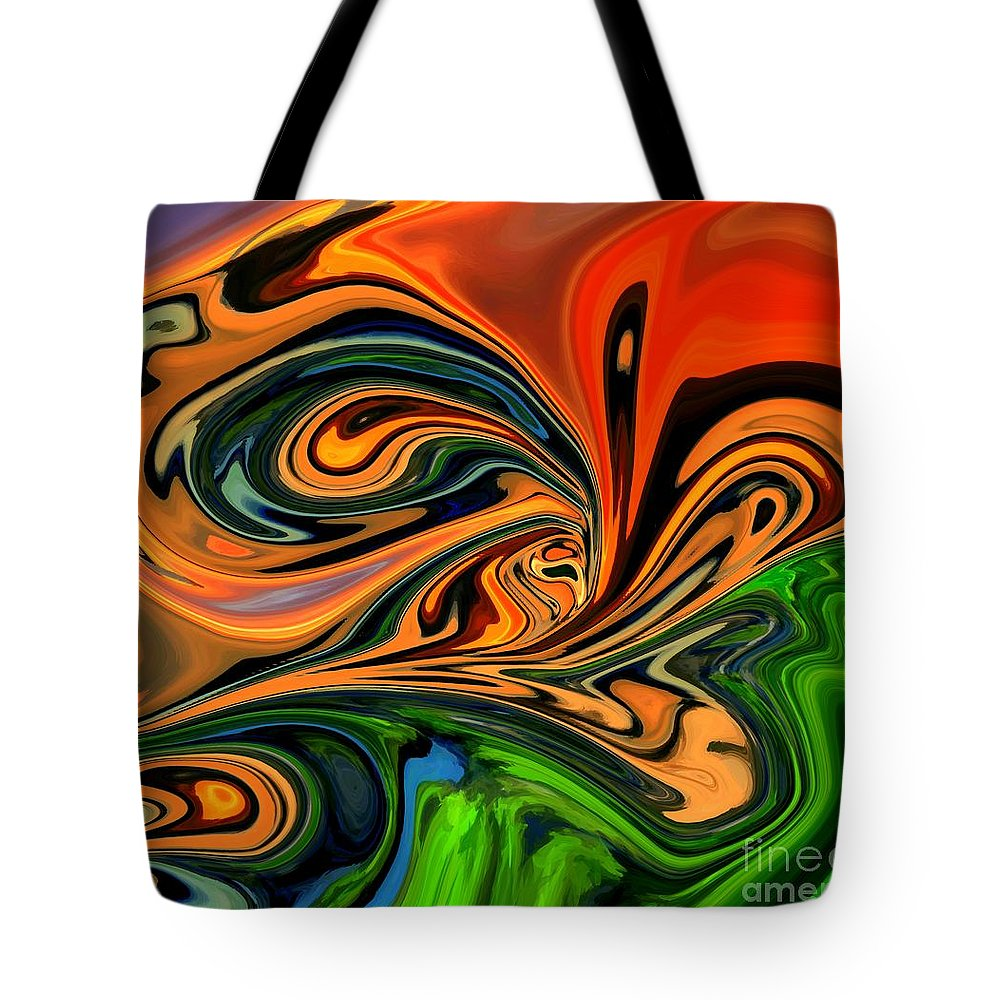 Abstract Tote Bag featuring the digital art Jungle Eyes by Chris Butler