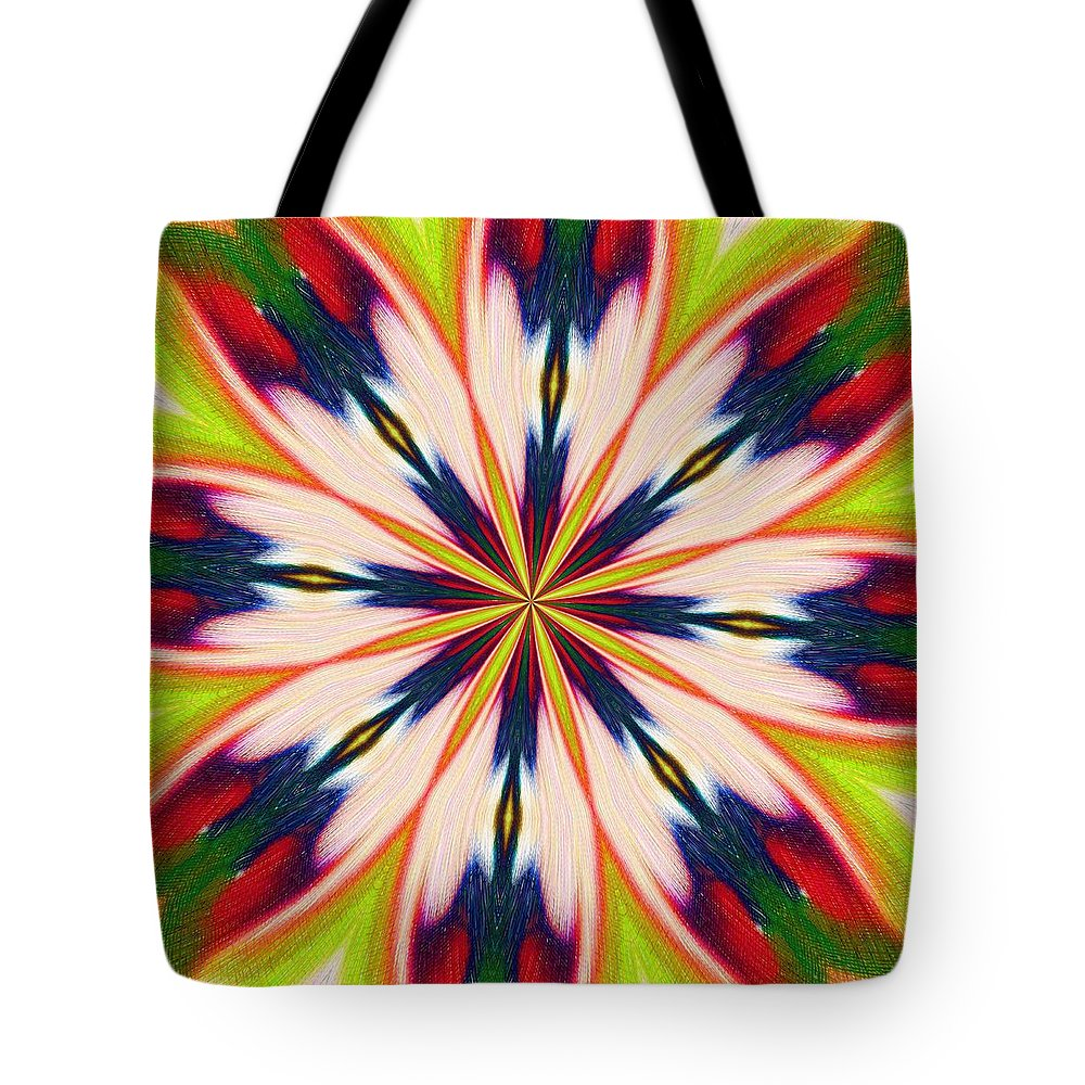 Green Tote Bag featuring the digital art Jungle Flower Bloom by Alec Drake