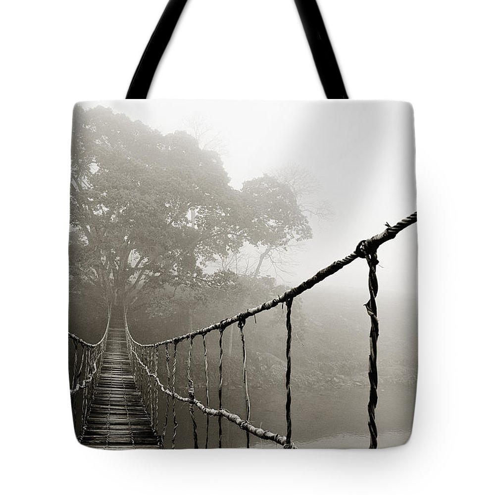 Rope Bridge Tote Bag featuring the photograph Jungle Journey 6 by Skip Nall
