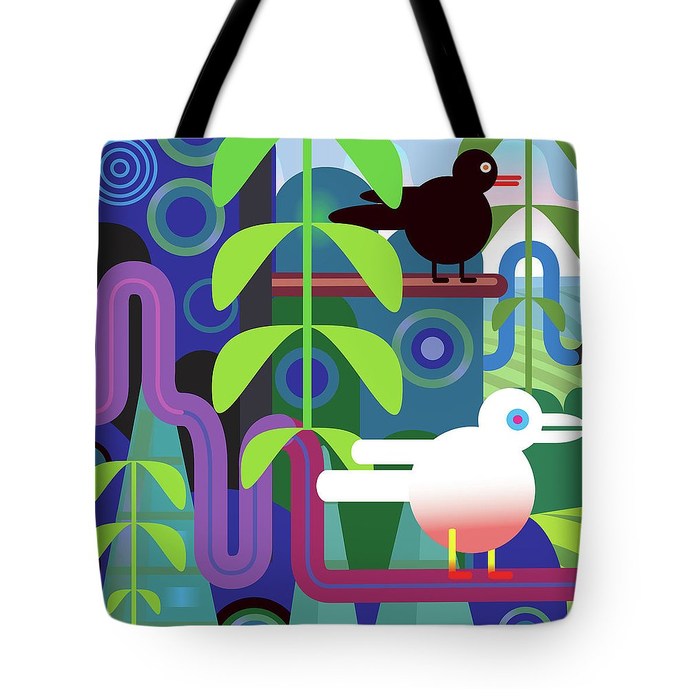 Pets Tote Bag featuring the digital art Jungle Vector Illustration With Birds by Charles Harker
