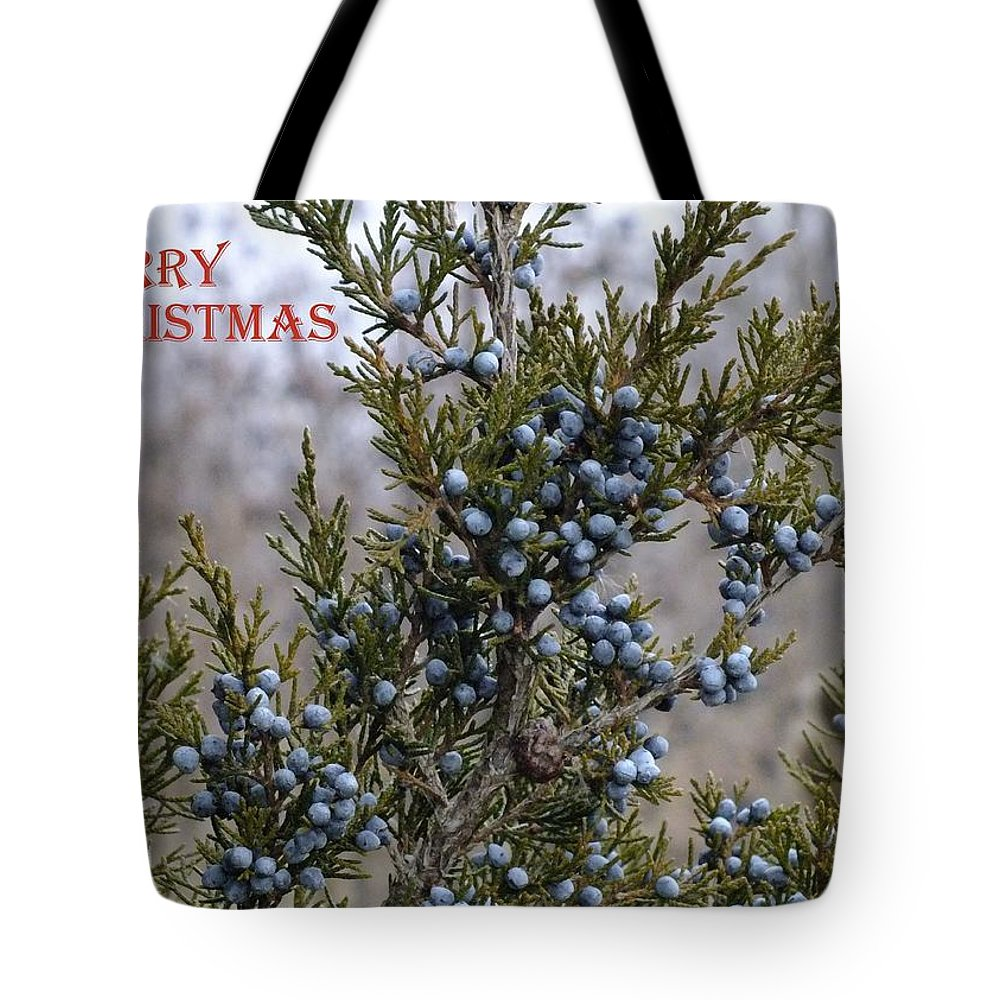 Tote Bag featuring the photograph Juniper Berries - Merry Christmas by Peggy King