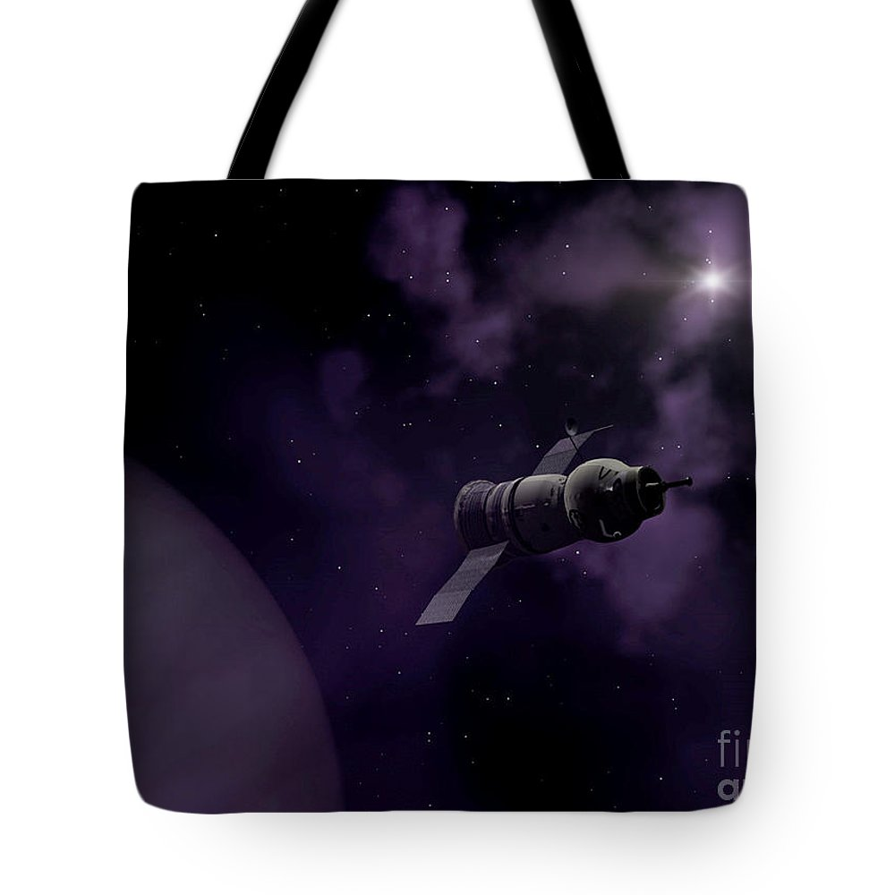 Space Tote Bag featuring the digital art Jupitor One Exploration by Richard Rizzo