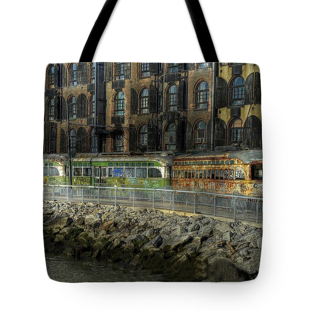New York Tote Bag featuring the photograph Jurassic Trolleys by Jeff Watts