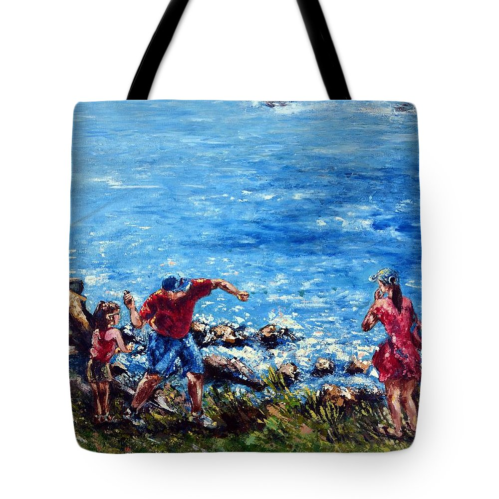 Ocean Tote Bag featuring the painting Just A Pebble In The Water by Harsh Malik
