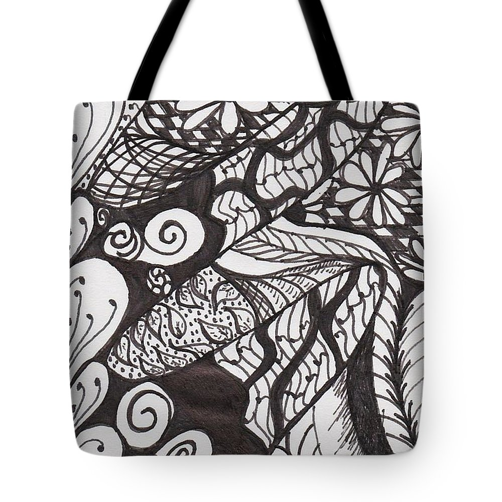 Tangle Tote Bag featuring the drawing Just A Tangle by Jessica Coulter