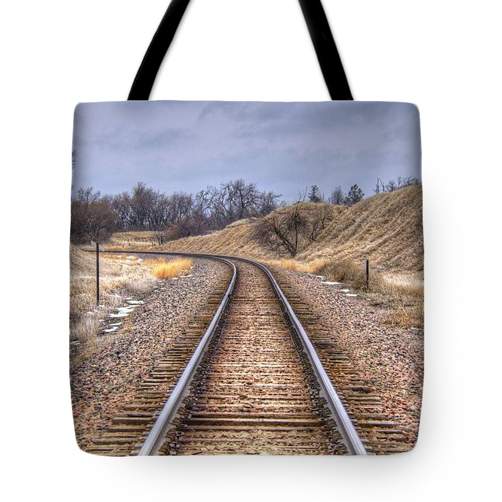 Grass Tote Bag featuring the photograph Just Around The Bend by M Dale
