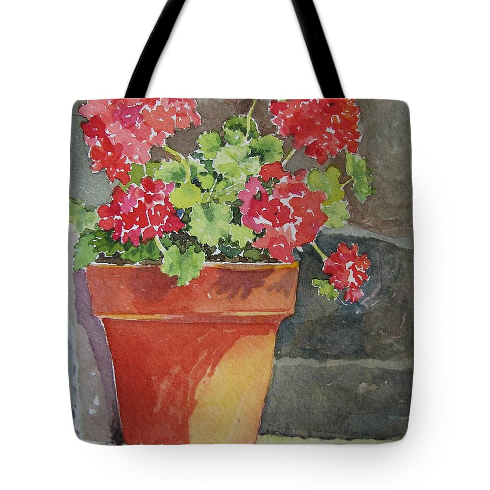 Claypots Tote Bag featuring the painting Basking in the Sun by Mary Ellen Mueller Legault