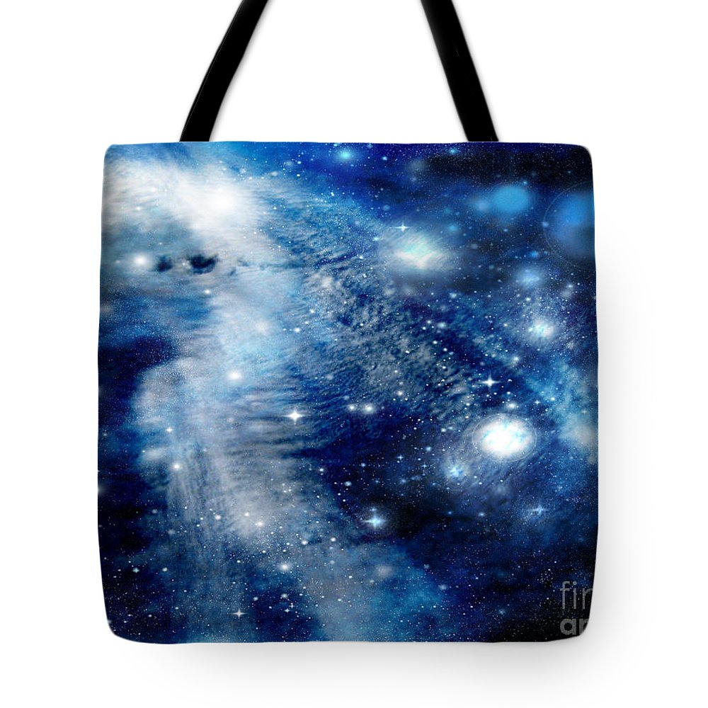 Clouds Tote Bag featuring the digital art Just Beyond The Moon by Janice Westerberg