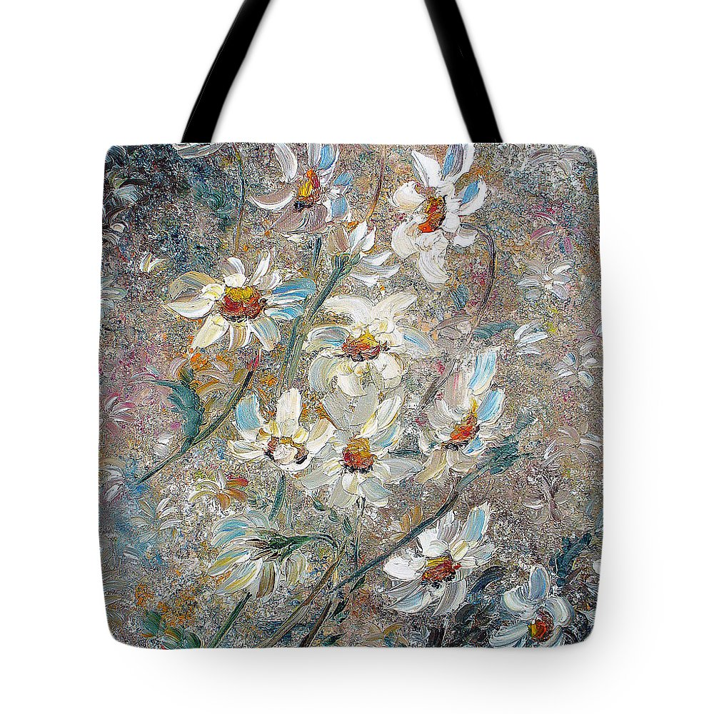 Daisies Painting Abstract Flower Painting Botanical Painting Bloom Greeting Card Painting Tote Bag featuring the painting Just Dasies by Karin Dawn Kelshall- Best
