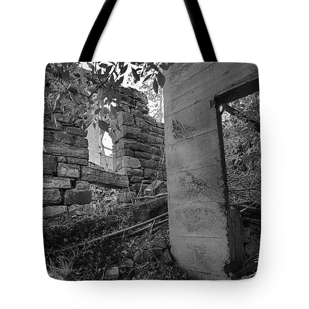 Abandoned Tote Bag featuring the photograph Just Left There Jerome Black And White by Scott Campbell