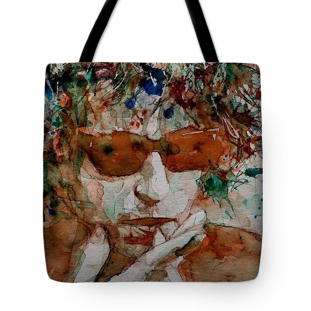 Bob Dylan Tote Bag featuring the painting Just Like A Woman by Paul Lovering