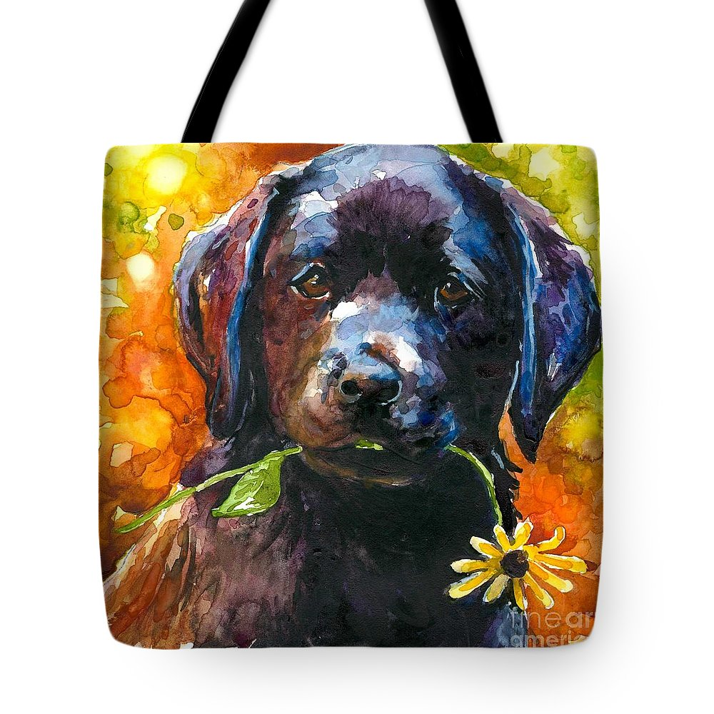 Black Lab Puppy Tote Bag featuring the painting Just Picked by Molly Poole
