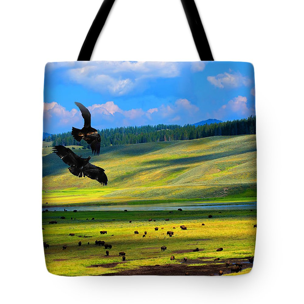 Juvenile Eagles Tote Bag featuring the photograph Juvenile Eagles Play Fight by Randall Branham