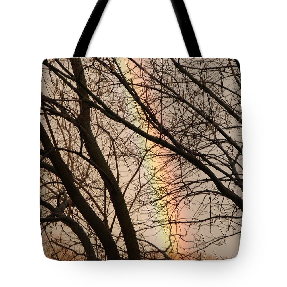 Rainbow Tote Bag featuring the photograph Juxtaposed Rainbow by Allen Meyer