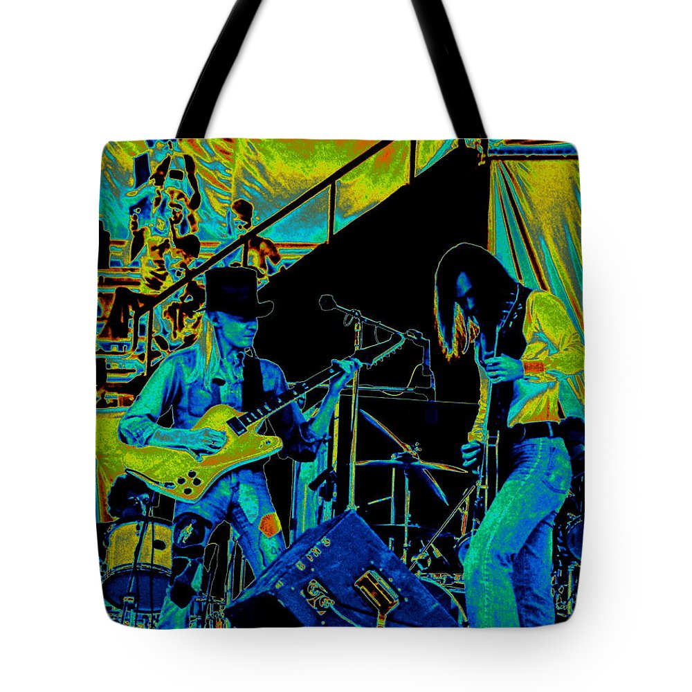 Johnny Winter Tote Bag featuring the photograph Jwinter #6 In Cosmicolors by Ben Upham