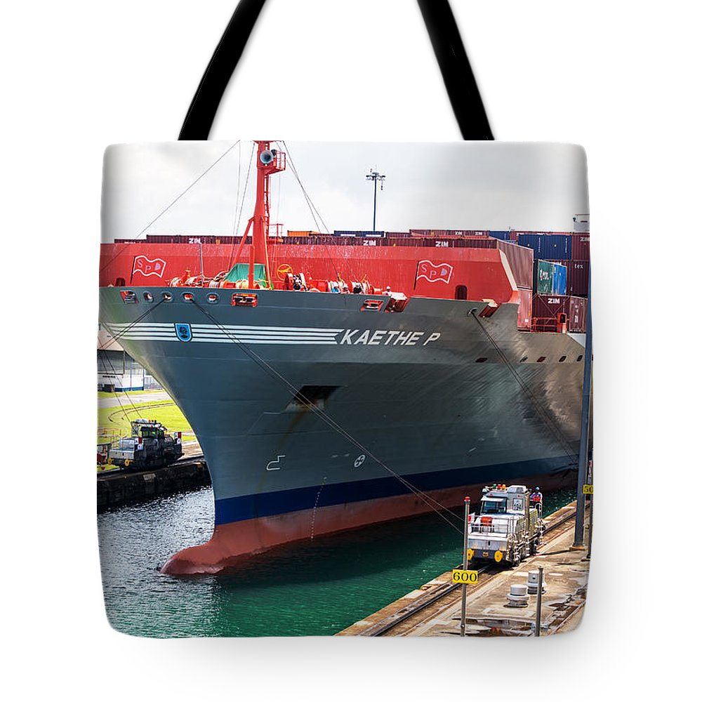 Kaethe P Container Ship Tote Bag featuring the photograph Kaethe P Container Ship Panama Canal by Rene Triay Photography