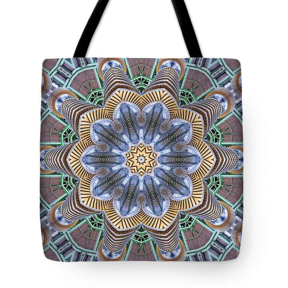 Kaleidoscope Tote Bag featuring the digital art Kaleidoscope 73 by Ron Bissett