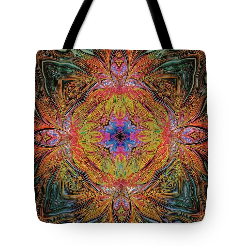 Digital Art Tote Bag featuring the digital art Kaleidoscope by Amanda Moore