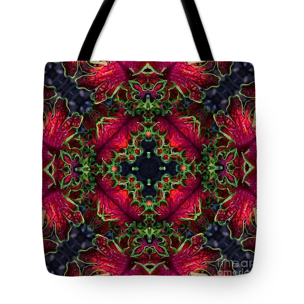 Kaleidoscope Tote Bag featuring the photograph Kaleidoscope Made From An Image Of A Coleus Plant by Amy Cicconi