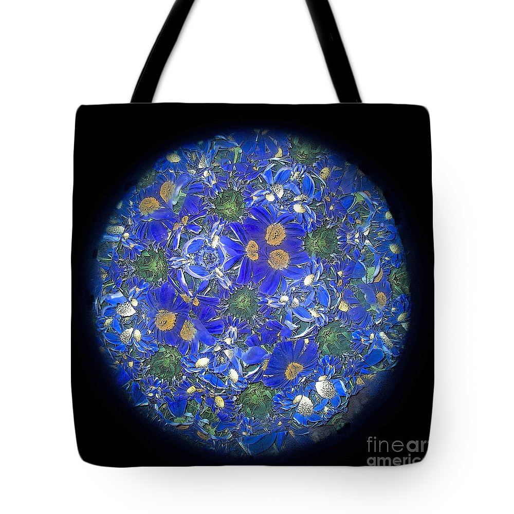 Blue Tote Bag featuring the photograph Kaleidoscopic Fantasy by Ann Horn