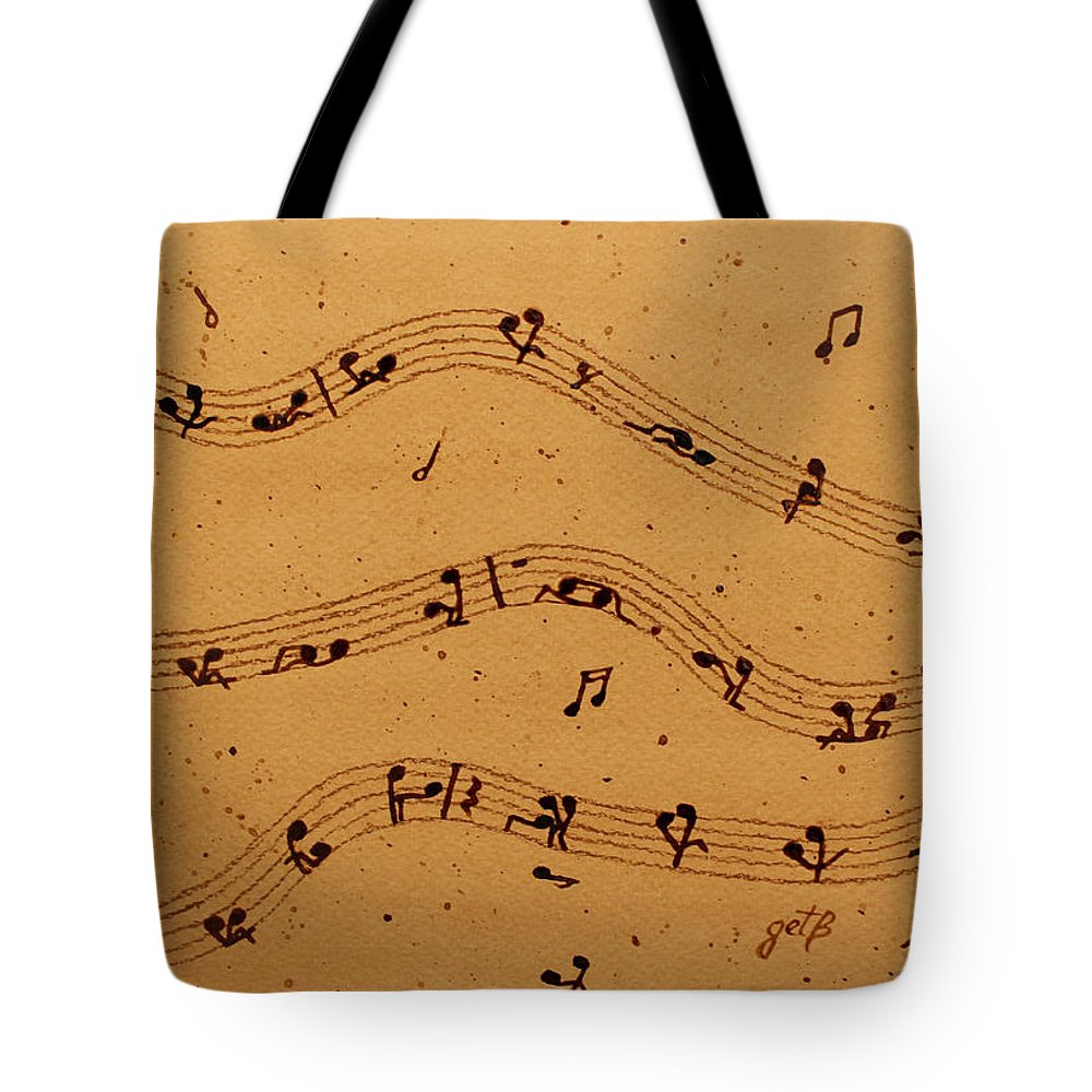 Abstract Music Tote Bag featuring the painting Kamasutra Music Coffee Painting by Georgeta Blanaru