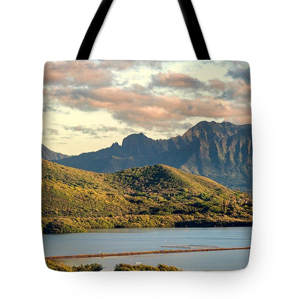 Hawaii Tote Bag featuring the photograph Kaneohe Bay Panorama Mural 1 Of 5 by Dan McManus