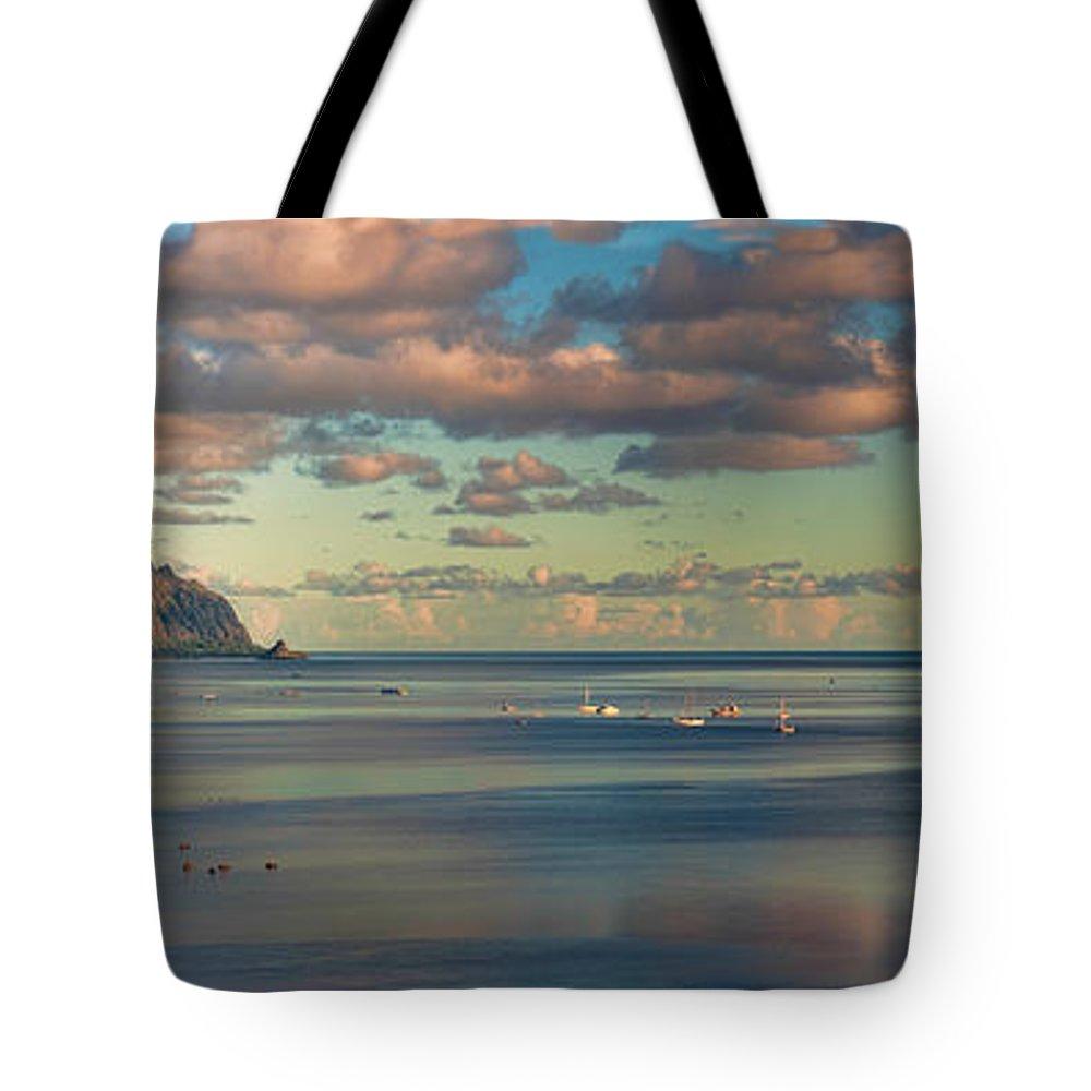 Hawaii Tote Bag featuring the photograph Kaneohe Bay Panorama Mural by Dan McManus