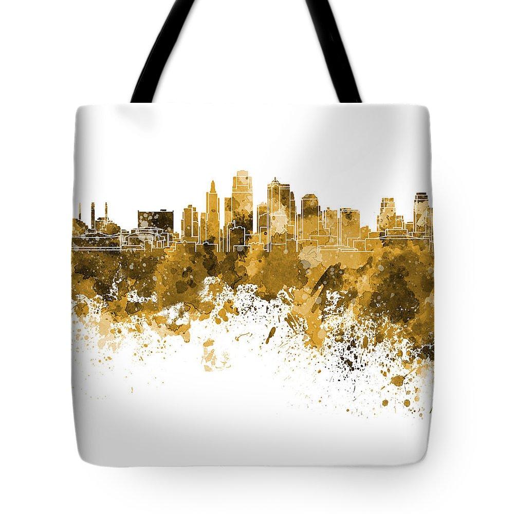 Kansas City Skyline Tote Bag featuring the painting Kansas City Skyline In Orange Watercolor On White Background by Pablo Romero