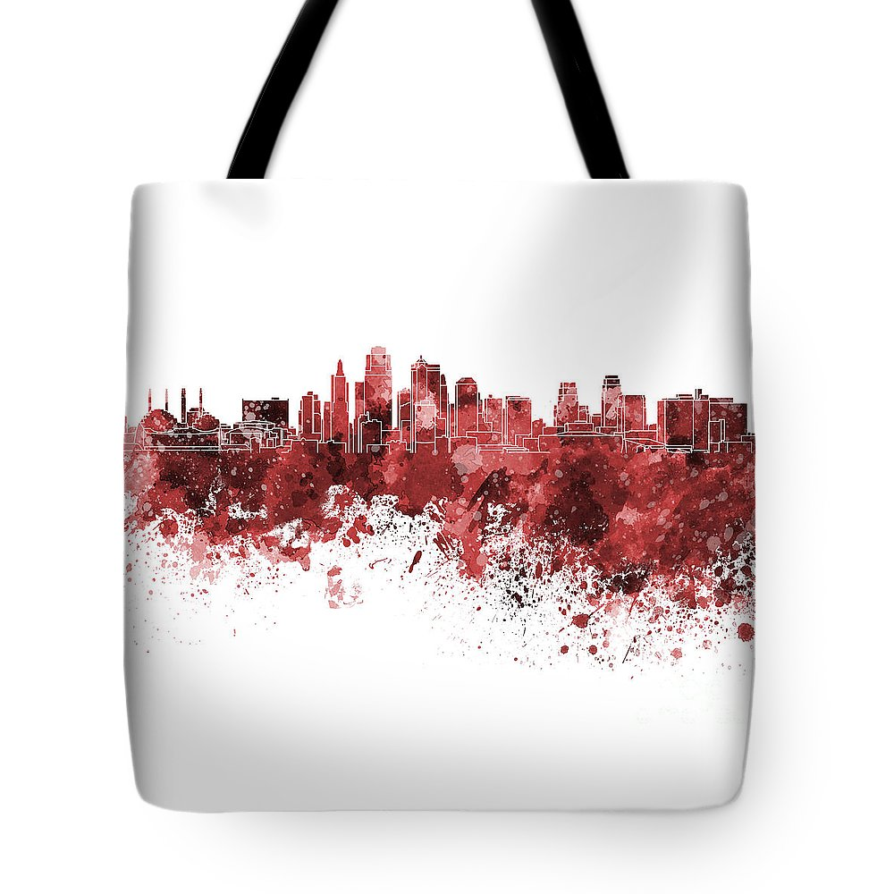 Kansas City Skyline Tote Bag featuring the painting Kansas City Skyline In Red Watercolor On White Background by Pablo Romero