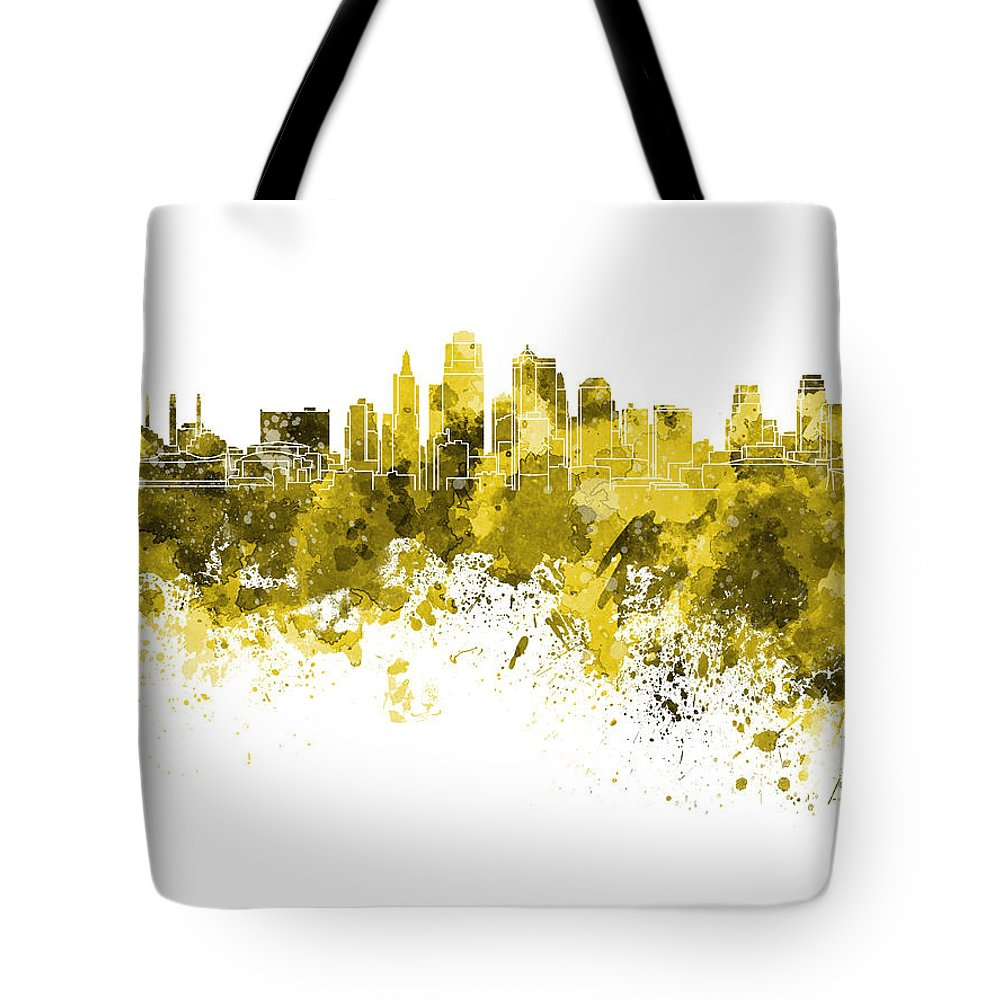 Kansas City Skyline Tote Bag featuring the painting Kansas City Skyline In Yellow Watercolor On White Background by Pablo Romero