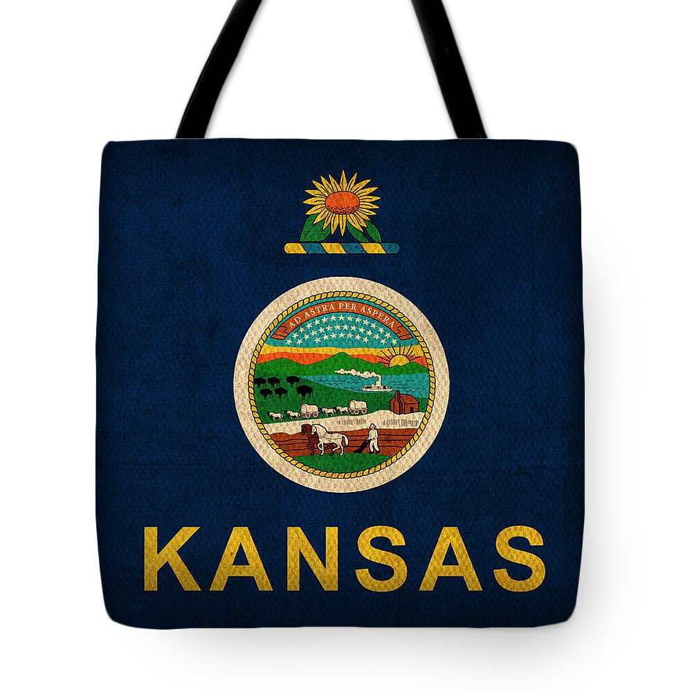 Kansas Tote Bag featuring the mixed media Kansas State Flag Art On Worn Canvas by Design Turnpike