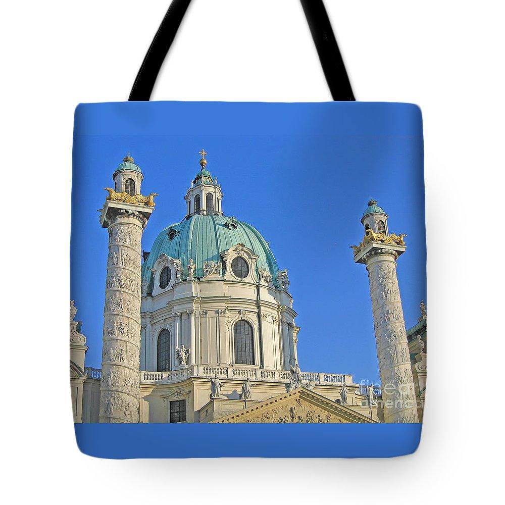 Vienna Tote Bag featuring the photograph Karlskirche - Vienna by Ann Horn