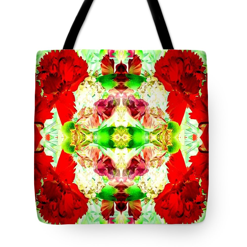 Carnations Tote Bag featuring the photograph Karnation Kaleidoscope by Marianne Dow