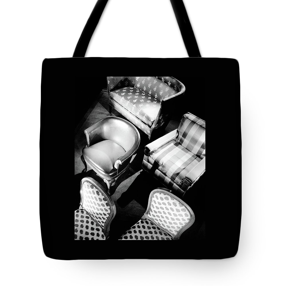 Designer Tote Bag featuring the photograph Karpen Chairs by Anton Bruehl
