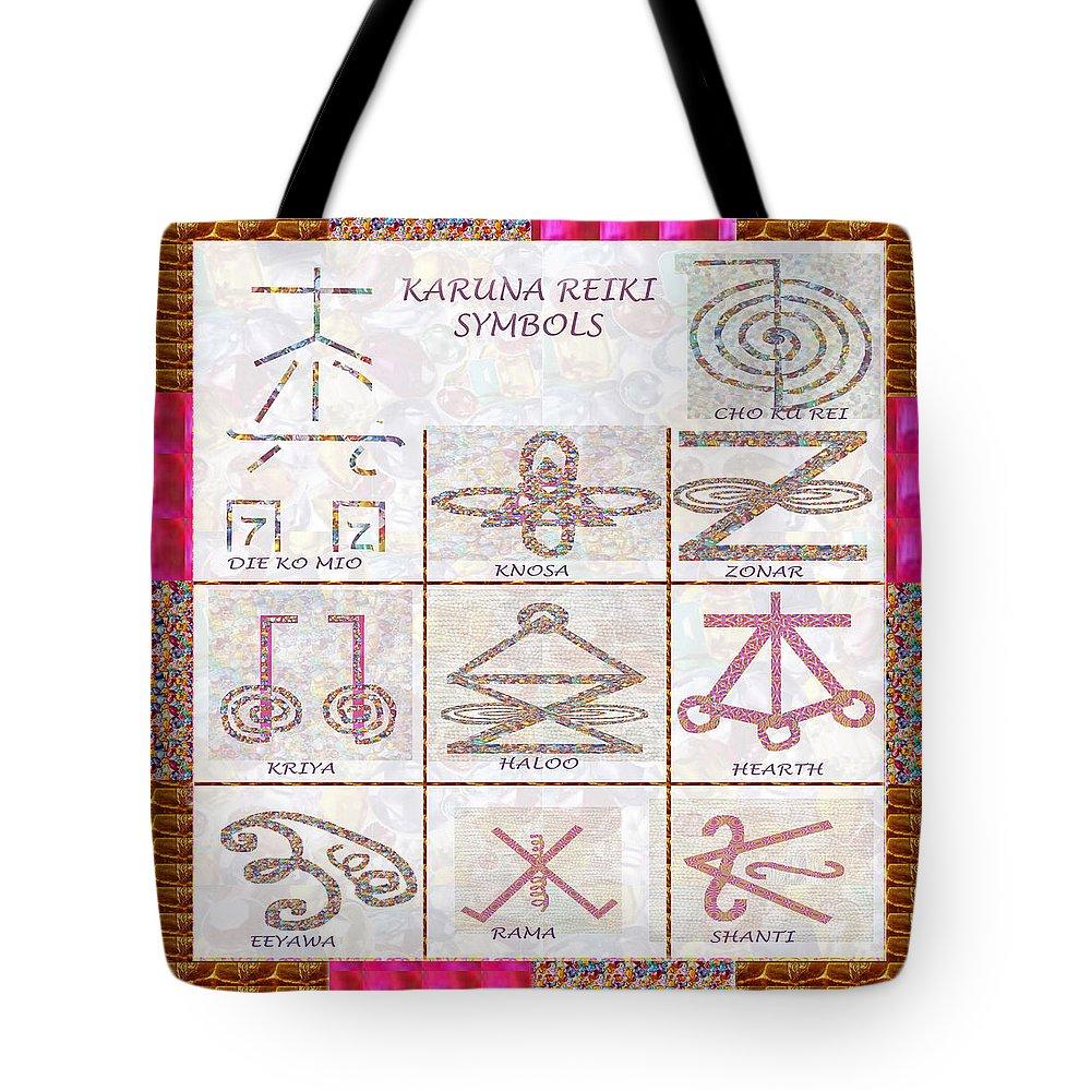 Karuna reiki healing power symbols artwork with crystal borders by karuna tote bag featuring the painting karuna reiki healing power symbols artwork with crystal borders by biocorpaavc