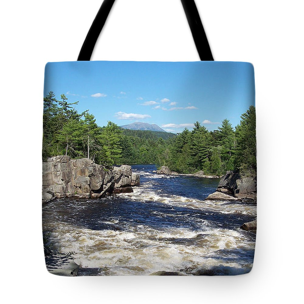 River Tote Bag featuring the pastel Katahdin And The Crib Works by Georgia Hamlin
