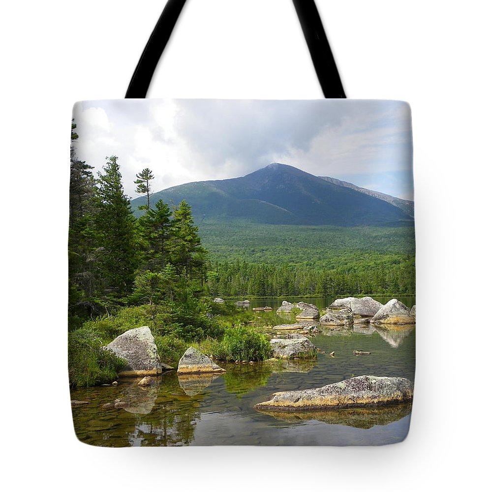 Mountain Tote Bag featuring the photograph Katahdin Framed At Sandy Stream Pond by Georgia Hamlin
