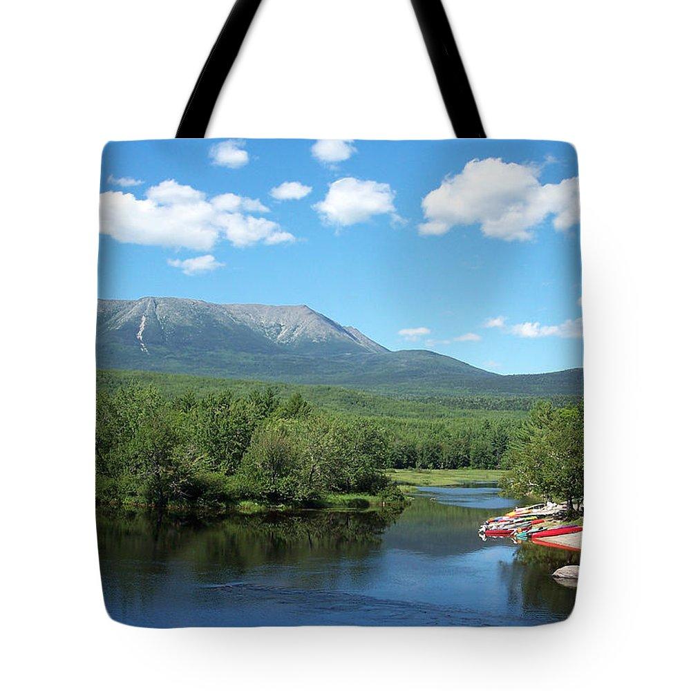 Mt. Katahdin Tote Bag featuring the photograph Katahdin From Abol Bridge by Georgia Hamlin