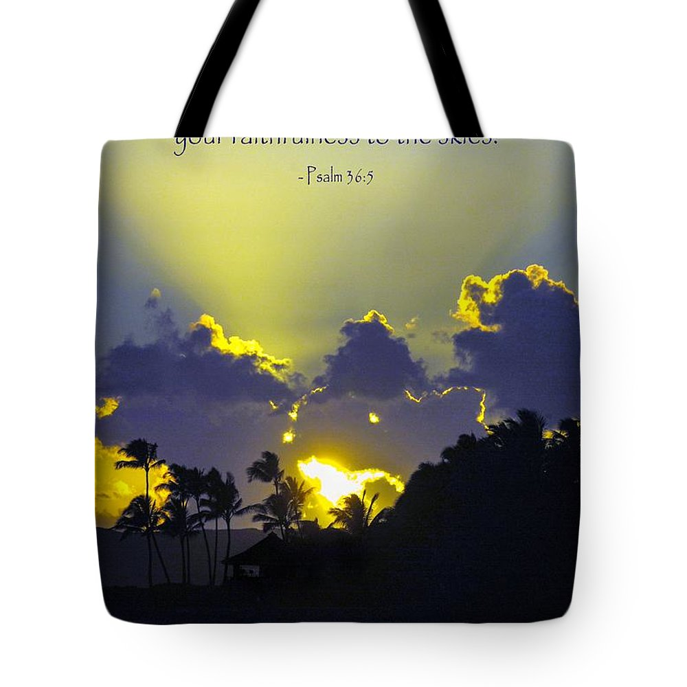 Bible Verse Tote Bag featuring the photograph Kauai Sunset Psalm 36 5 by Debbie Karnes