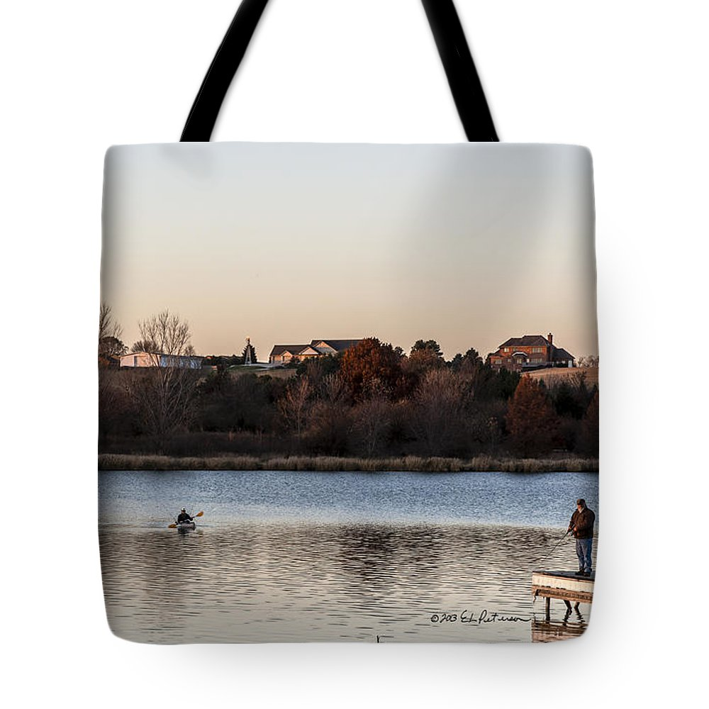 Autumn Tote Bag featuring the photograph Kayak At Sunset by Edward Peterson