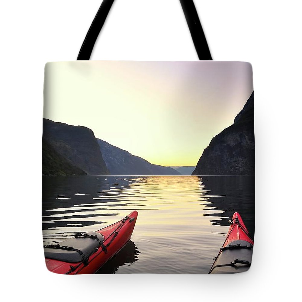 Scenics Tote Bag featuring the photograph Kayak In Norway by Sjo