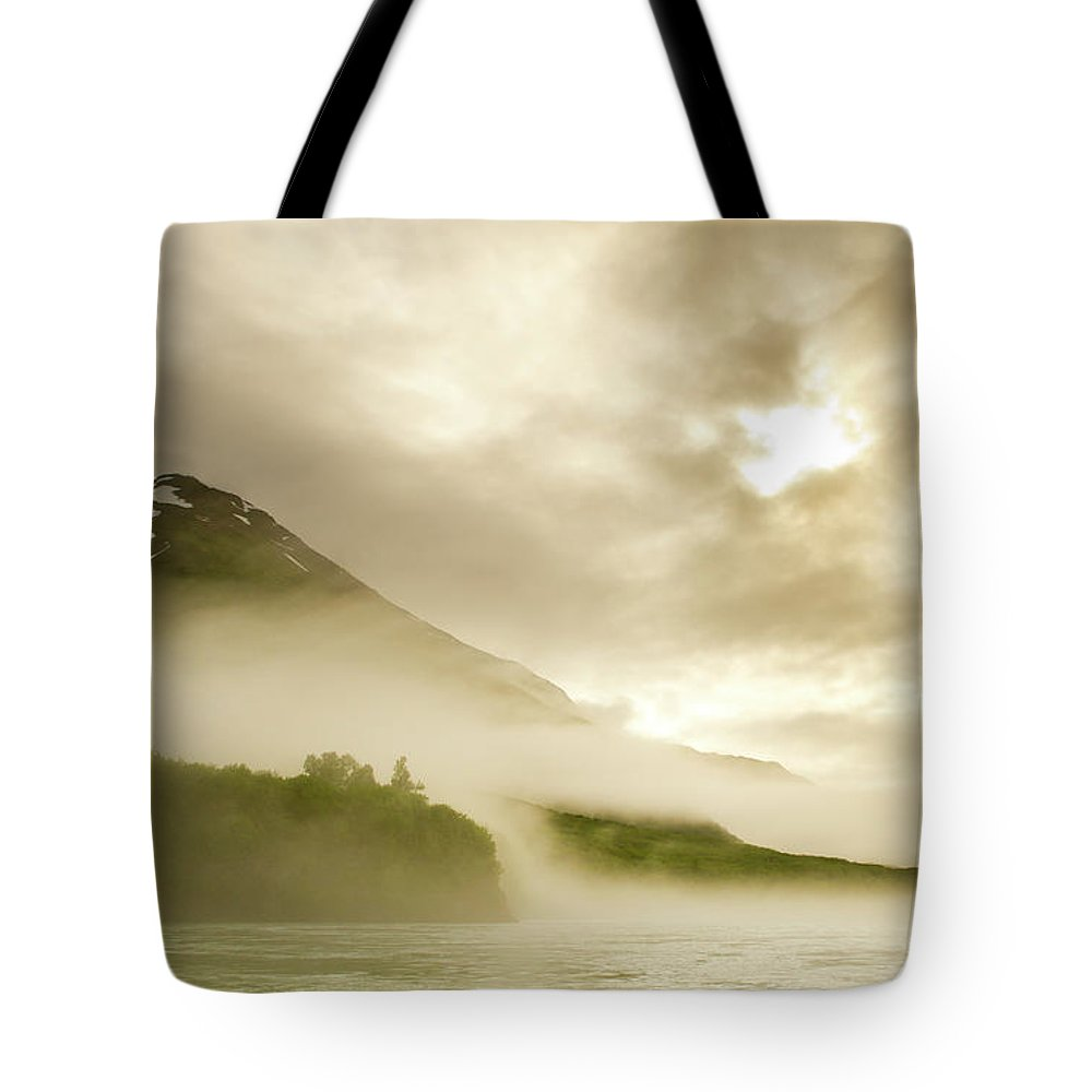 Exploration Tote Bag featuring the photograph Kayaker And Marine Fog On The Alsek by Josh Miller Photography
